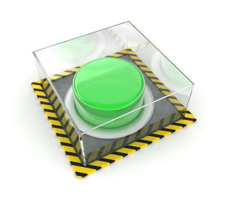 unpressed: Illustration of the green button under glass on a white background Stock Photo