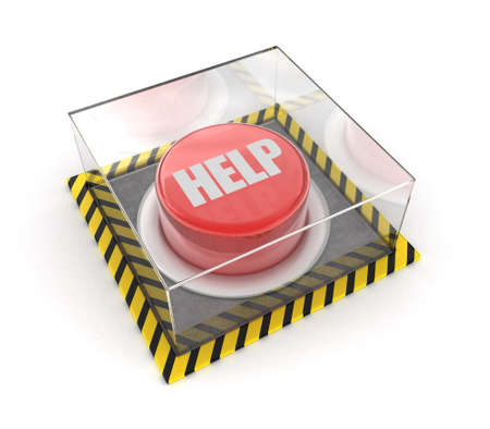 unpressed: Illustration of the red button under glass on a white background