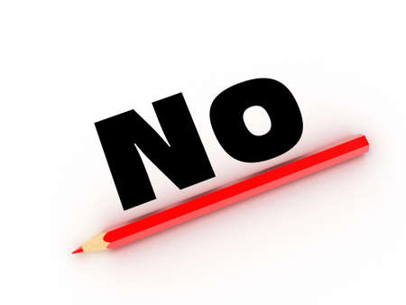 disapprove: Illustration of a red pencil and word on a white paper Stock Photo