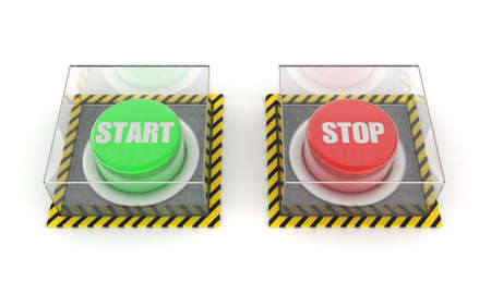 unpressed: Illustration of the green and red button under glass Stock Photo