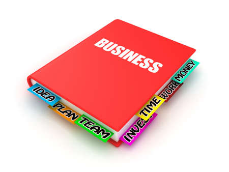 working on school project: Business book with bookmarks on a white background Stock Photo