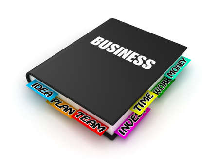 textbook: Business book with bookmarks on a white background Stock Photo