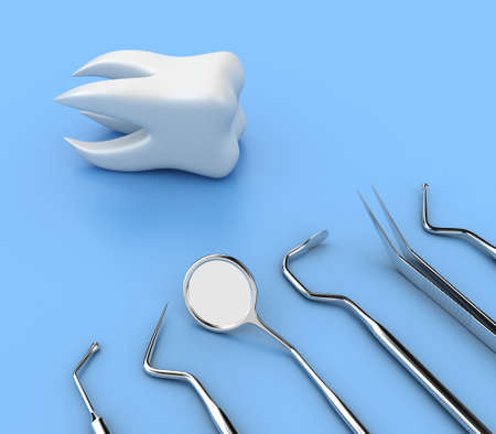 Illustration of dental tools opposite to white tooth illustration