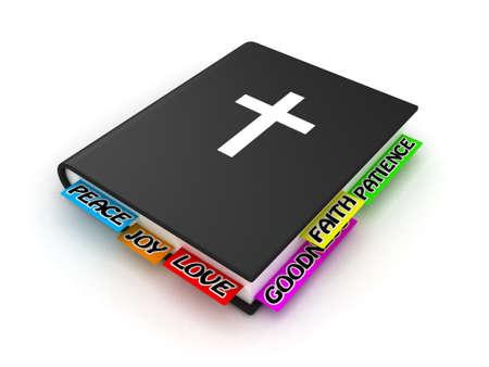 Illustratie van de Bijbel met bladwijzers op een witte achtergrond