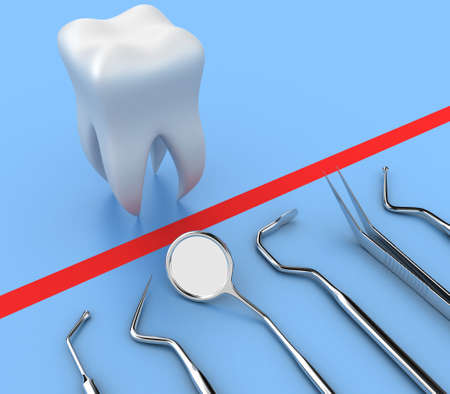 dental fear: Illustration of dental tools opposite to white tooth Stock Photo