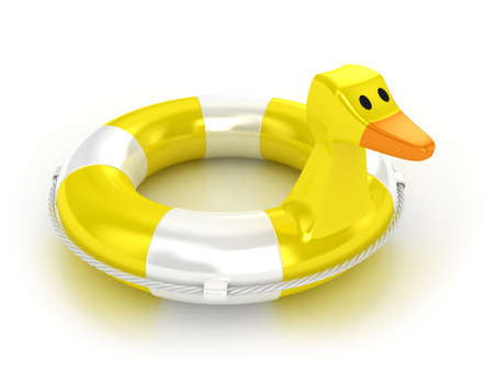 Illustration of a lifebuoy in the form of a duck illustration