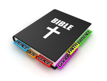 holy book: Illustration of the Bible with bookmarks on a white background