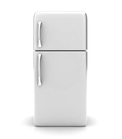 old door: Illustration of a new fridge on a white background Stock Photo
