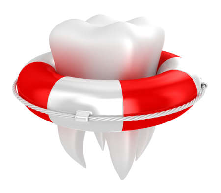 lifesaving: Illustration of tooth with lifebuoy on a white background Stock Photo