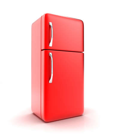 frig: Illustration of a new fridge on a white background Stock Photo