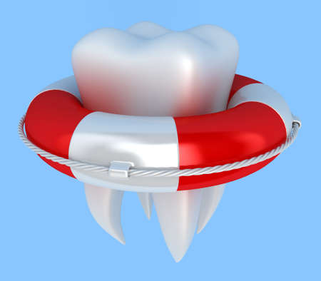 lifejacket: Illustration of tooth with lifebuoy on a blue background Stock Photo