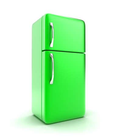 nevera: Ilustración de un nuevo refrigerador sobre un fondo blanco