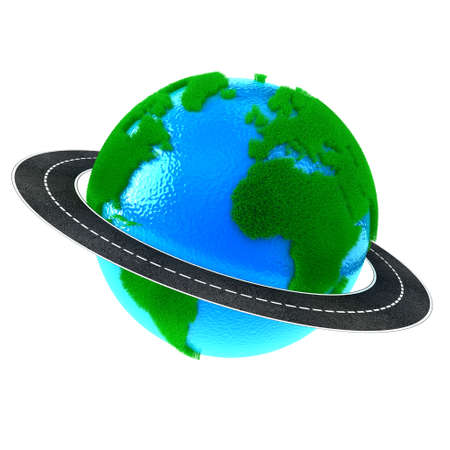 drive around the world: Planet Earth with green grass and road around