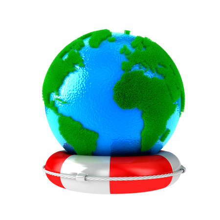 Illustration of planet Earth with green grass on a lifebuoy illustration