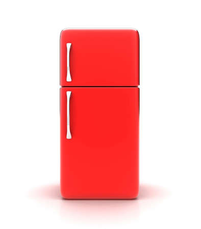 cooler: Illustration of a new fridge on a white background Stock Photo