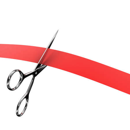 feestelijke opening: Illustratie van schaar en rood lint op een witte achtergrond
