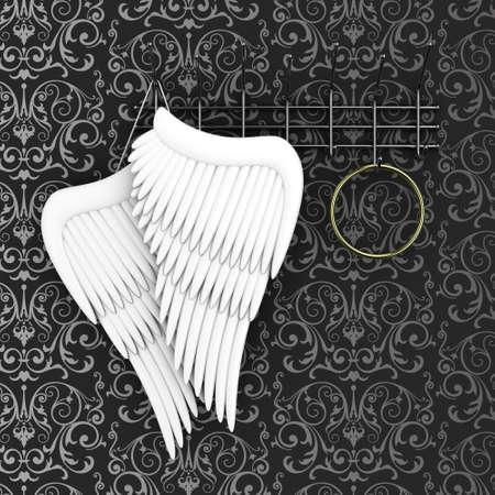 ange gardien: Illustration d'ailes d'un ange et halo sur un cintre