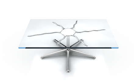 furniture detail: Illustration of a glass table on a white background Stock Photo