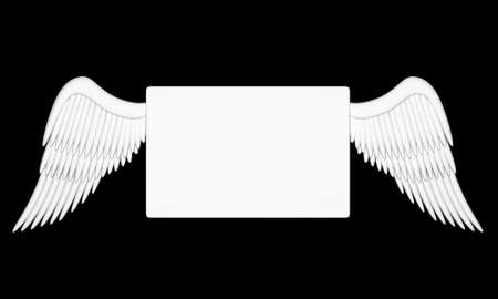 Illustration of a white message with angelic wings illustration