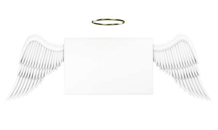 angel 3d: Illustration of a white message with angelic wings Stock Photo