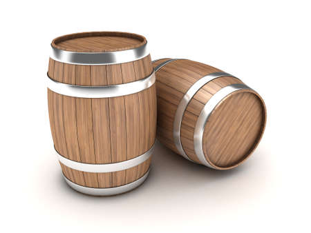 distillery: Illustration of two wooden barrels on a white background