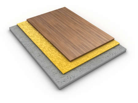 joinery: Illustration of components of a floor from different layers Stock Photo