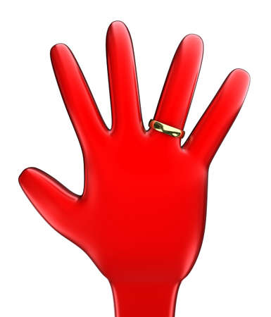 promising: Illustration of a hand with a gold ring on a white background
