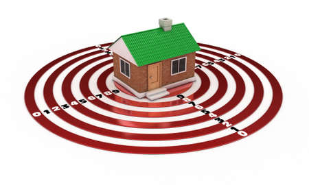 The small house with a green roof on a red target Stock Photo - 12598585