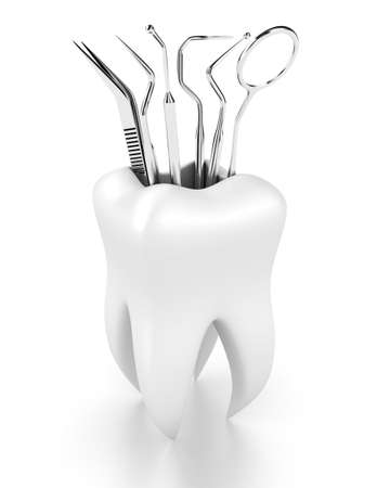 caries dental: Ilustración de herramientas dentales en el diente blanco