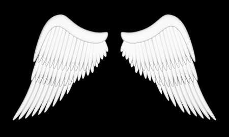 ali angelo: Illustrazione di ali di un angelo su sfondo nero Archivio Fotografico