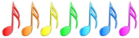 listening music: Illustration of multicoloured notes on a white background Stock Photo