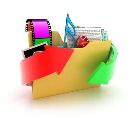 Illustration eines Ordners mit verschiedenen Dateien auf einem weißen Hintergrund Standard-Bild