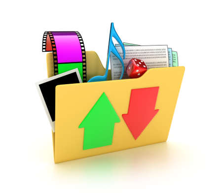 ftp: Illustration of a folder with different files on a white background Stock Photo