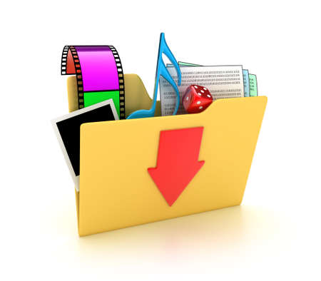 Illustration of a folder with different files on a white background illustration