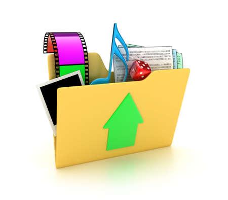 Illustration von einem Ordner mit mehreren Dateien auf einem weißen Hintergrund