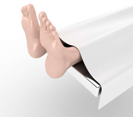 toe: Illustration of two feet of the dead person under a bedsheet Stock Photo