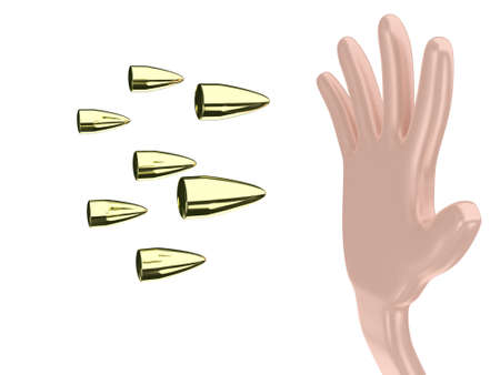 arming: Illustration of the hand and bullets on a white background