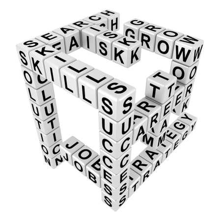 crossword puzzle: Crossword puzzle illustration in the threedimensional form