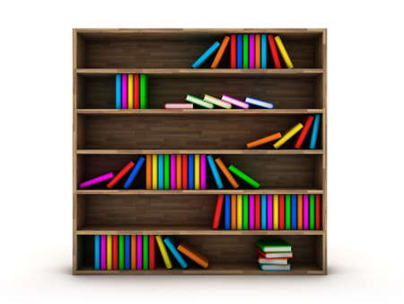 Illustration of a bookcase with a books different colour illustration