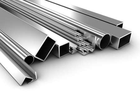siderurgia: Ilustración de productos de forma diferente a partir de metal Foto de archivo