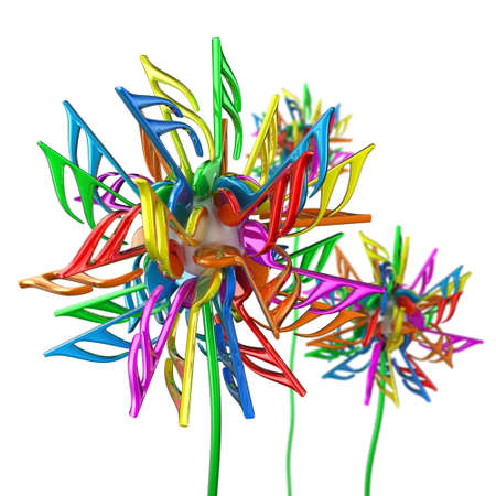 Illustration of dandelion flowers with multicoloured notes illustration