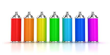 Illustration einer Spraydose mit einer Farbe auf weißem Hintergrund
