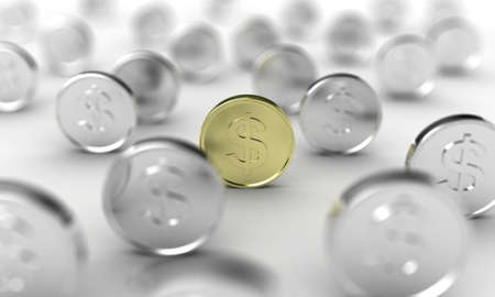 silver coins: Illustration of gold coin in focus, among many other Stock Photo