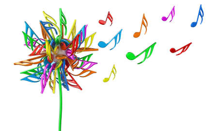 rainbow music: Illustration of dandelion flower with multicoloured notes