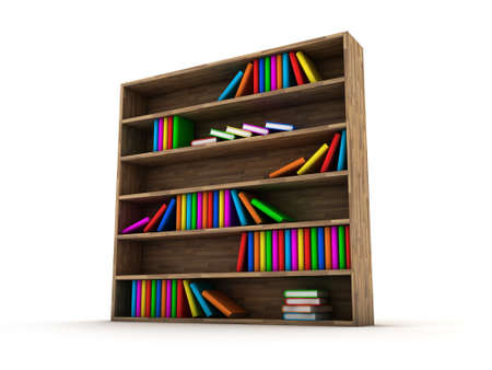 bookcases: Illustration of a bookcase with a books different colour Stock Photo