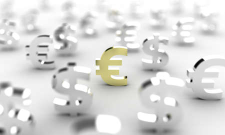 Illustration of a symbol of euro among set of money Stock Illustration - 12853506