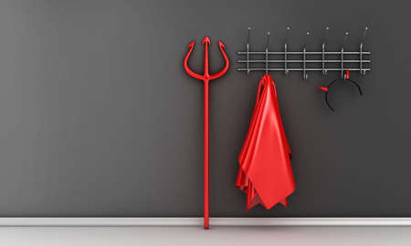 scary halloween: Illustration of devil costume and horns on a hanger