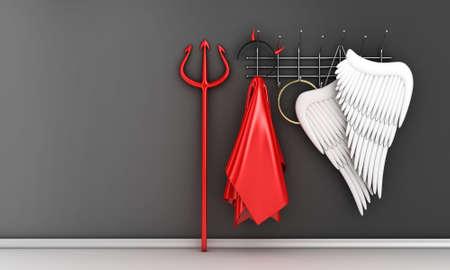 teufel engel: Illustration der verschiedenen religi�sen Kost�men auf einem Kleiderb�gel
