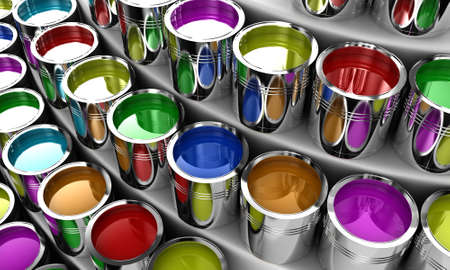 Banks with a paint of different colours on white shelves photo