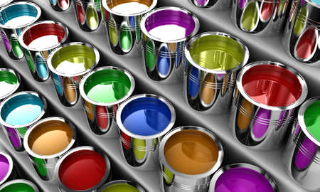 paints: Banks with a paint of different colours on white shelves
